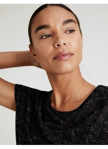 Marks & Spencer Kısa Kollu Desenli T-Shirt Siyah